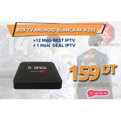 BOX TV Android BLANCA 4K H.265 12 MOIS BEST IPTV + 1 MOIS DEAL IPTV